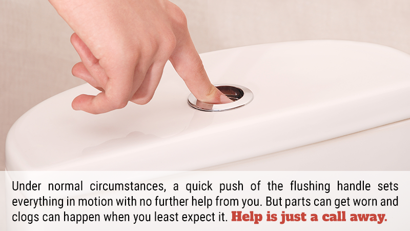 Under normal circumstances, a quick push of the flushing handle sets everything in motion with no further help from you. But parts can get worn and clogs can happen when you least expect it. Help is just a call away.