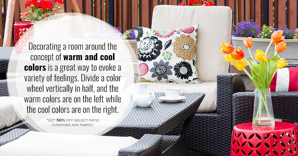 Decorating a room around the concept of warm and cool colors is a great way to evoke a variety of feelings. Divide a color wheel vertically in half, and the warm colors are on the left while the cool colors are on the right.