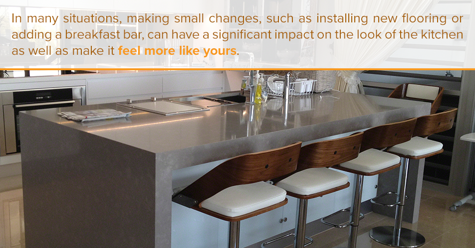 In many situations, making small changes, such as installing new flooring or adding a breakfast bar, can have a significant impact on the look of the kitchen as well as make it feel more like yours.