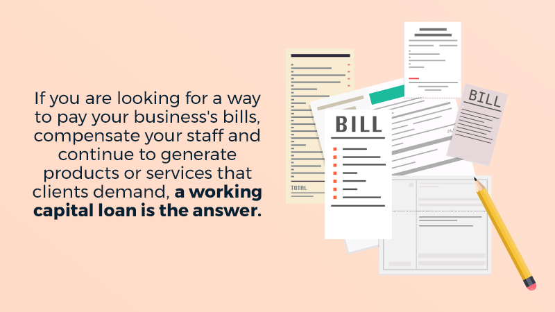 If you are looking for a way to pay your business's bills, compensate your staff and continue to generate products or services that clients demand, a working capital loan is the answer.