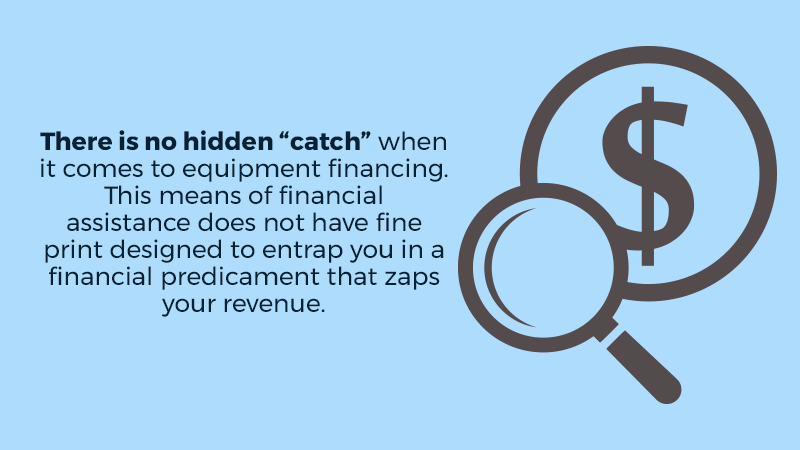 """There is no hidden """"catch"""" when it comes to equipment financing. This means of financial assistance does not have fine print designed to entrap you in a financial predicament that zaps your revenue."""
