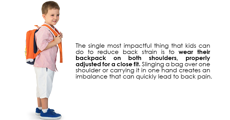 The single most impactful thing that kids can do to reduce back strain is to wear their backpack on both shoulders, properly adjusted for a close fit. Slinging a bag over one shoulder or carrying it in one hand creates an imbalance that can quickly lead to back pain.