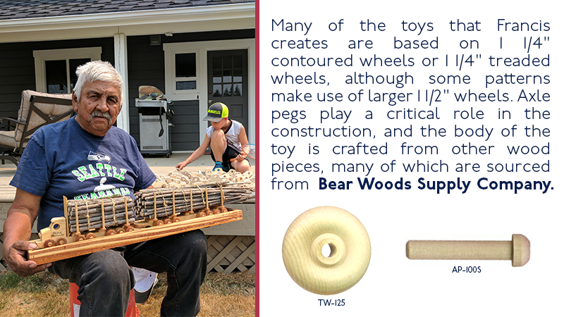 "Many of the toys that Shuter creates are based on 1 1/4"" contoured wheels or 1 1/4"" treaded wheels, although some patterns make use of larger 1 1/2"" wheels. Axel pegs play a critical role in the construction, and the body of the toy is crafted from other wood pieces, many of which are sourced from Bear Woods Supply Company."