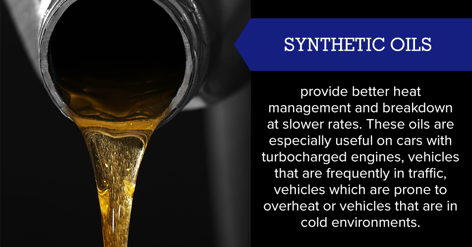 Synthetic oils provide better heat management and breakdown at slower rates. These oils are especially useful on cars with turbocharged engines, vehicles that are frequently in traffic, vehicles which are prone to overheat or vehicles that are in cold environments.