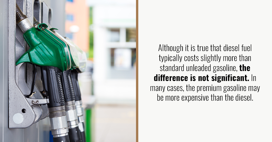 Although it is true that diesel fuel typically costs slightly more than standard unleaded gasoline, the difference is not significant. In many cases, the premium gasoline may be more expensive than the diesel.