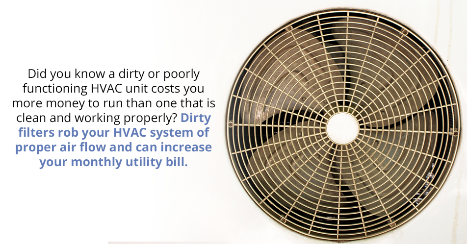 Did you know a dirty or poorly functioning HVAC unit costs you more money to run than one that is clean and working properly? Dirty filters rob your HVAC system of proper air flow and can increase your monthly utility bill.