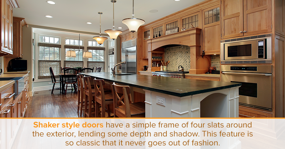 Shaker style doors have a simple frame of four slats around the exterior, lending some depth and shadow. This feature is so classic that it never goes out of fashion.