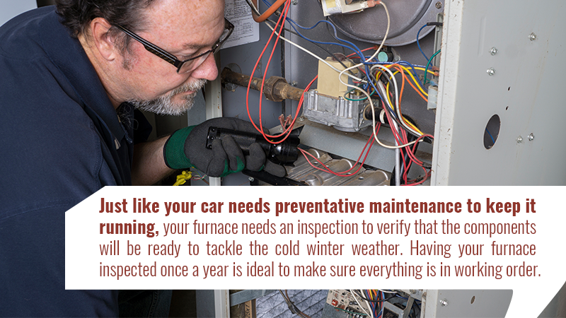 Just like your car needs preventative maintenance to keep it running, your furnace needs an inspection to verify that the components will be ready to tackle the cold winter weather. Having your furnace inspected once a year is ideal to make sure everything is in working order.