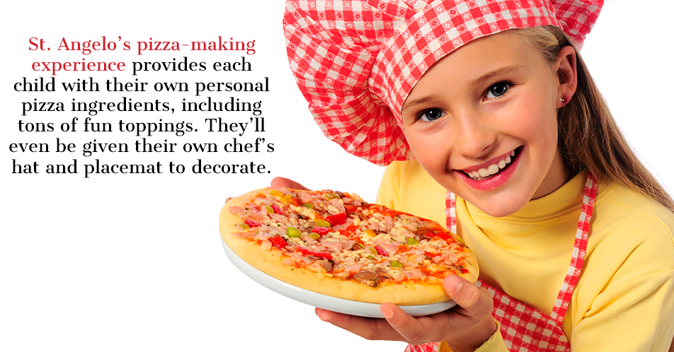 St. Angelo's pizza-making experience provides each child with their own personal pizza ingredients, including tons of fun toppings. They'll even be given their own chef's hat and placemat to decorate.
