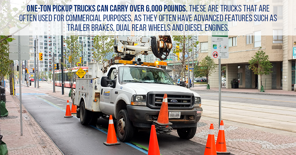 One-ton pickup trucks can carry over 6,000 pounds. These are trucks that are often used for commercial purposes, as they often have advanced features such as trailer brakes, dual rear wheels and diesel engines.
