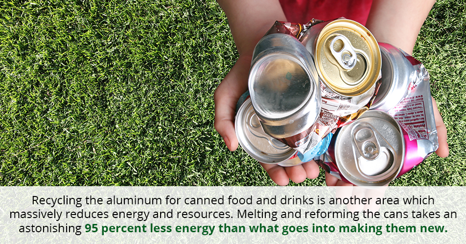 Recycling the aluminum for canned food and drinks is another area which massively reduces energy and resources. Melting and reforming the cans takes an astonishing 95 percent less energy than what goes into making them new.