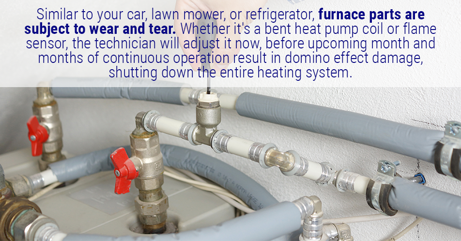 Similar to your car, lawn mower, or refrigerator, furnace parts are subject to wear and tear. Whether it's a bent heat pump coil or flame sensor, the technician will adjust it now, before upcoming month and months of continuous operation result in domino effect damage, shutting down the entire heating system.