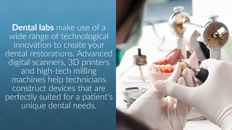 Medical labs make use of a wide range of technological innovation to create your dental device. Advanced scanners, wax printers and high-tech milling machines help technicians construct devices that are perfectly suited for a patient's unique dental needs.