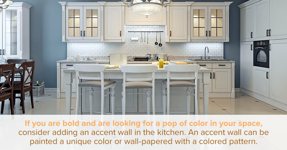If you are bold and are looking for a pop of color in your space, consider adding an accent wall in the kitchen. An accent wall can be painted a unique color or wall-papered with a colored pattern. The colors found on the accent wall should be mimicked in the space with the use of accessories to tie everything together.