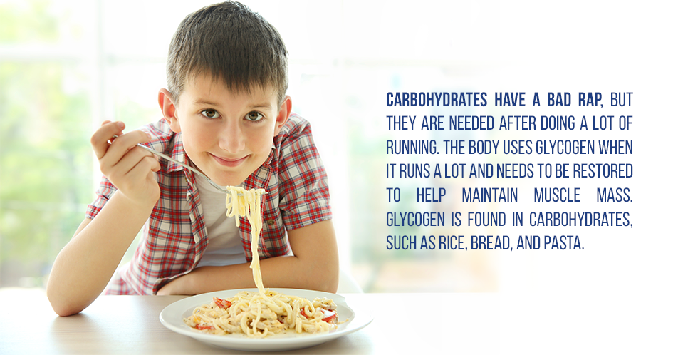 Carbohydrates have a bad rap, but they are needed after doing a lot of running. The body uses glycogen when it runs a lot and needs to be restored to help maintain muscle mass. Glycogen is found in carbohydrates, such as rice, bread, and pasta.