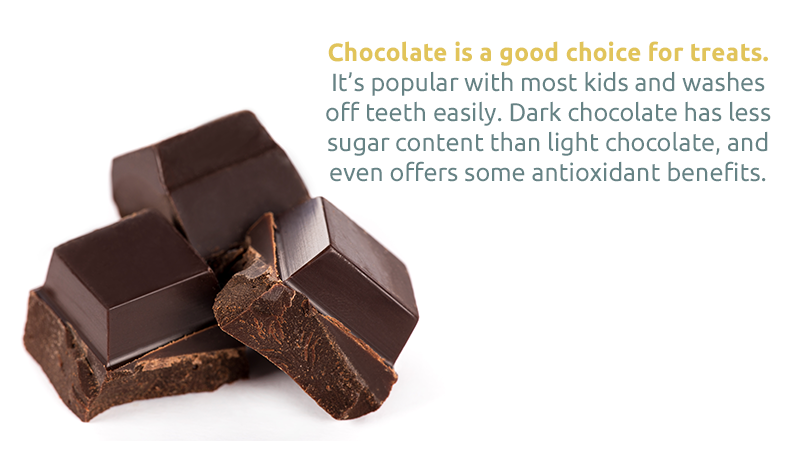 Chocolate is a good choice for treats. It's popular with most kids and washes off teeth easily. Dark chocolate has less sugar content than light chocolate, and even offers some antioxidant benefits.