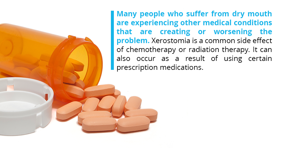 Many people who suffer from dry mouth are experiencing other medical conditions that are creating or worsening the problem. Xerostomia is a common side effect of chemotherapy or radiation therapy. It can also occur as a result of using certain prescription medications.