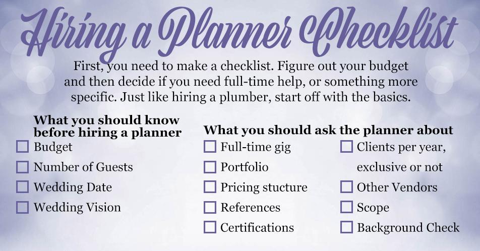 Hiring a Wedding Planner Check List