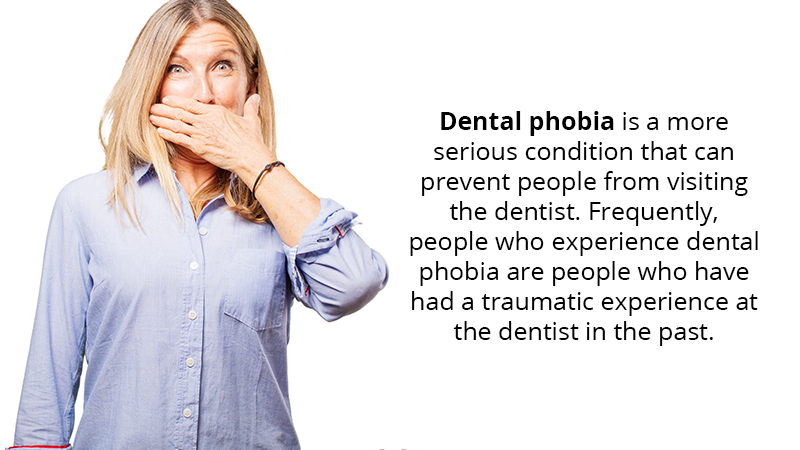 Dental phobia is a more serious condition that can prevent people from visiting the dentist. Frequently, people who experience dental phobia are people who have had a traumatic experience at the dentist in the past.