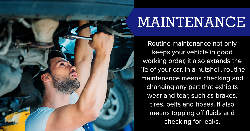 In a nutshell, routine maintenance means checking and changing any part that exhibits wear and tear, such as brakes, tires, belts, and hoses. It also means topping off fluids and checking for leaks.
