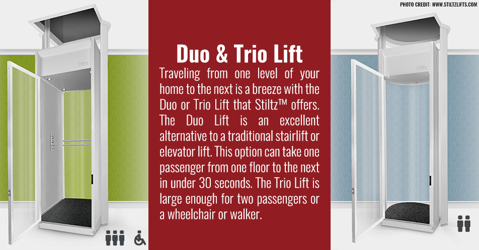 Traveling from one level of your home to the next is a breeze with the Duo or Trio Lift that Stiltz offers. The Duo Lift is an excellent alternative to a traditional stairlift or elevator lift. This option can take one passenger from one floor to the next in under 30 seconds. The Trio Lift is large enough for two passengers or a wheelchair or walker.