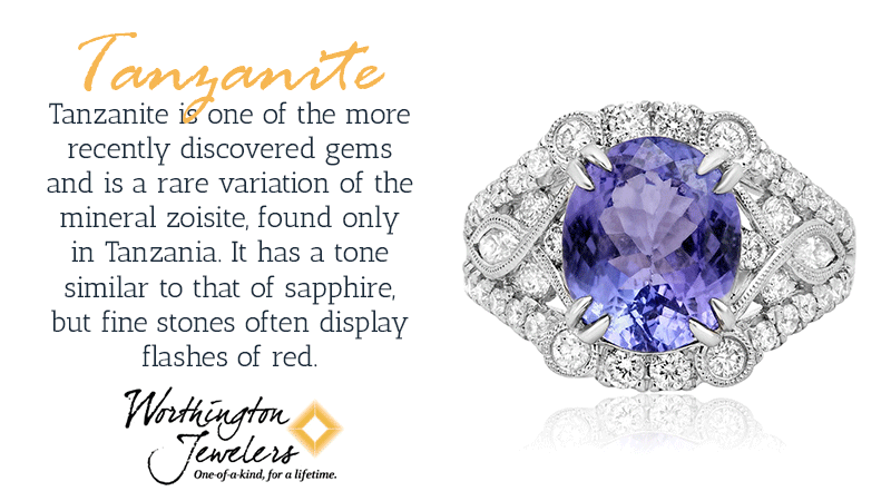 Tanzanite is one of the more recently discovered gems and is a rare variation of the mineral zoisite, found only in Tanzania. It has a tone similar to that of sapphire. Thanks to a property known as pleochroism, tanzanite can reflect different colors as you view it from different angles.