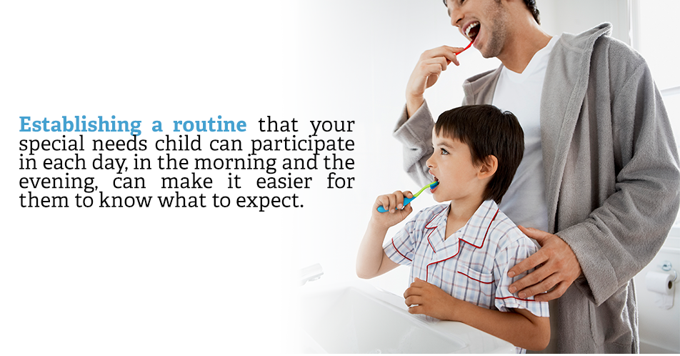 Establishing a routine that your special needs child can participate in each day, in the morning and the evening, can make it easier for them to know what to expect.