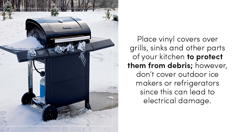 Place vinyl covers over grills, sinks and other parts of your kitchen to protect them from debris, but don't cover outdoor ice makers or fridges, since this can lead to electrical damage.