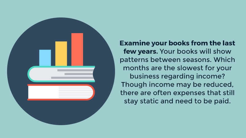 Examine your books from the last few years. Your books will show patterns between seasons. Which months are the slowest for your business regarding income? Though income may be reduced, there are often expenses that still stay static and need to be paid.