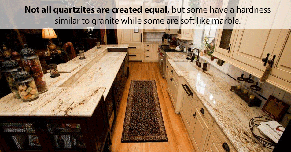 Unlike marble, which is a soft stone, quartzite has the hardness of granite. Where marble may not hold up well under the daily wear and tear of kitchen counters, quartzite easily performs like granite.