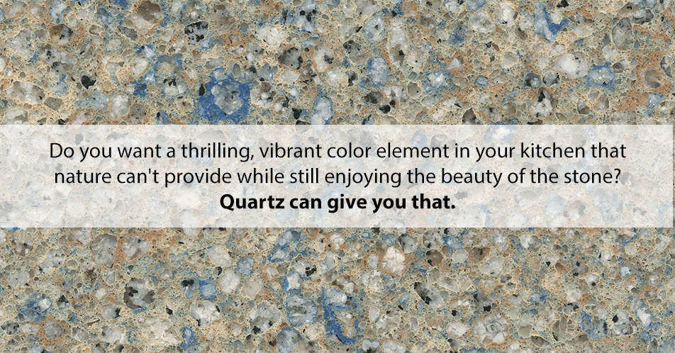 Quartz also can be made in any color and rock density to suit your design preferences. Do you want a thrilling, vibrant color element in your kitchen that Nature can't provide while still enjoying the beauty of the stone? Quartz can give you that.
