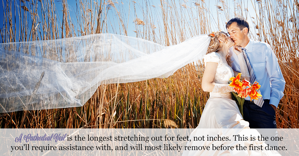 Cathedral Veil is the longest stretching out for feet, not inches. This is the one you'll require assistance with, and will most likely remove before the first dance.