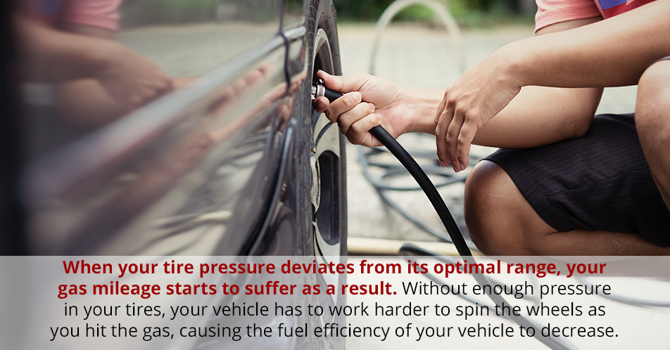 When your tire pressure deviates from its optimal range, your gas mileage starts to suffer as a result. Without enough pressure in your tires, your vehicle has to work harder to spin the wheels as you hit the gas, causing the fuel efficiency of your vehicle to decrease.
