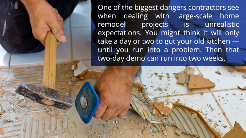 One of the biggest dangers contractors see when dealing with large-scale home remodel projects is unrealistic expectations. You might think it will only take a day or two to gut your old kitchen — until you run into a problem. Then that two-day demo can run into two weeks.
