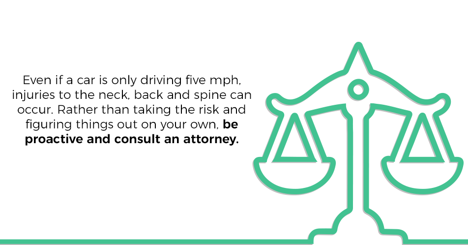 Even if a car is only driving 5 mph, injuries to the neck, back and spine can occur. Rather than taking the risk and figuring things out on your own, be proactive and consult an attorney.