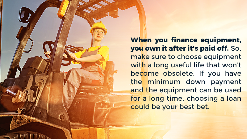 When you finance equipment, you own it after it's paid off. So, make sure to choose equipment with a long useful life that won't become obsolete. If you have the minimum down payment and the equipment can be used for a long time, choosing a loan could be your best bet.
