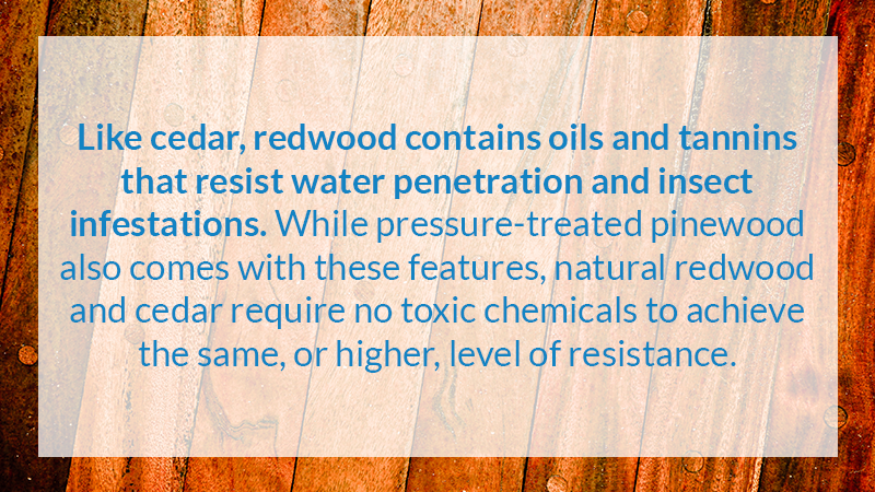 Like cedar, redwood contains oils and tannins that resist water penetration and insect infestations. While pressure-treated pinewood also comes with these features, natural redwood and cedar require no toxic chemicals to achieve the same, or higher, level of resistance.