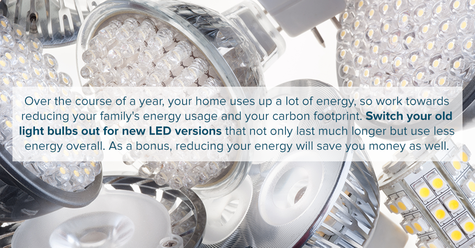 Over the course of a year, your home uses up a lot of energy, so work towards reducing your family's energy usage and your carbon footprint. Switch your old light bulbs out for new LED versions that not only last much longer but use less energy overall. As a bonus, reducing your energy will save you money as well.