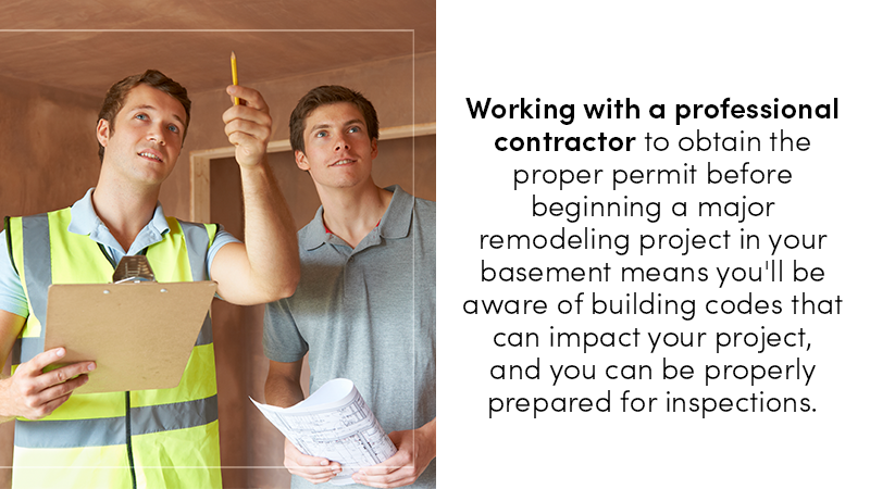 Obtaining a permit before a major remodeling project in your basement means you'll be aware of the various local ordinances that can impact your home and any follow-up inspections are meant to keep you safe as well as making sure you stay legal.