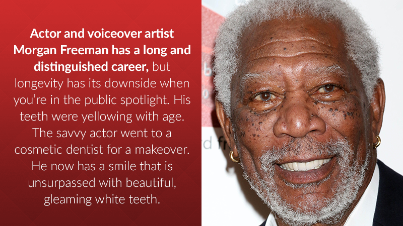 Actor and voiceover artist Morgan Freeman has a long and distinguished career, but longevity has its downside when you're in the public spotlight. His teeth were yellowing with age. The savvy actor went to a cosmetic dentist for a makeover. He now has a smile that is unsurpassed with beautiful, gleaming white teeth.