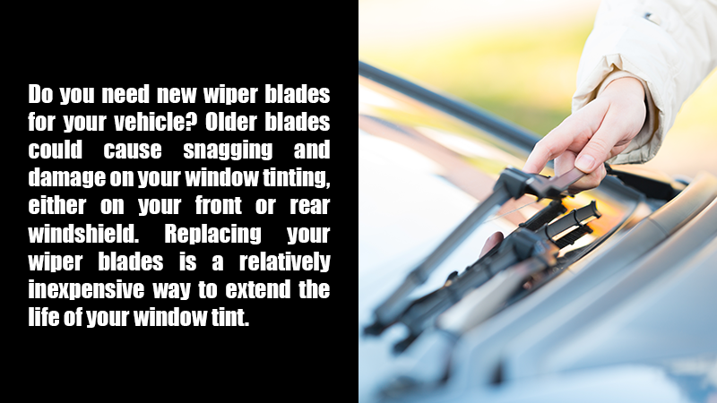 Do you need new wiper blades for your vehicle? Older blades could cause snagging and damage on your window tinting, either on your front or rear windshield. Replacing your wiper blades is a relatively inexpensive way to extend the life of your window tint.