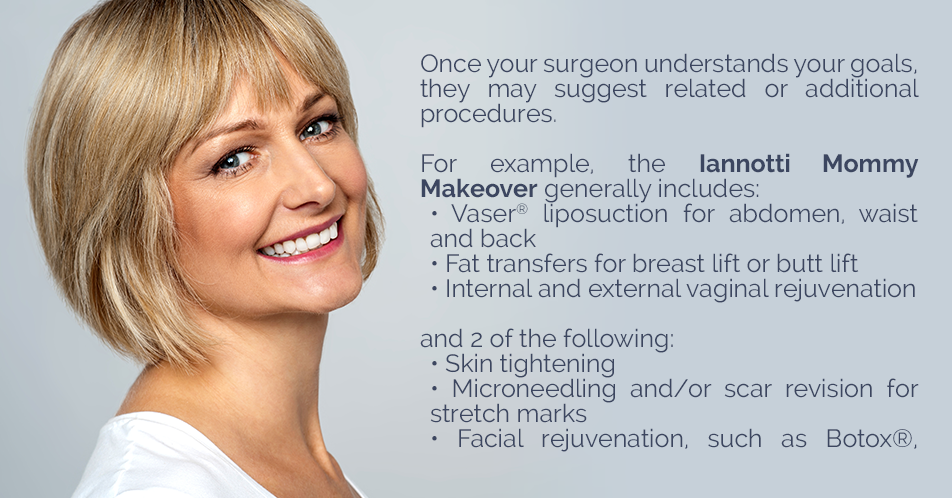 Once your surgeon understands your goals, they may suggest related or additional procedures. For example, the Iannotti Mommy Makeover generally includes:  Vaser® liposuction for abdomen, waist and back Fat transfers for breast lift or butt lift Internal and external vaginal rejuvenation and 2 of the following:  Skin tightening Microneedling and/or scar revision for stretch marks Facial rejuvenation, such as Botox®, dermal fillers or chemical peels