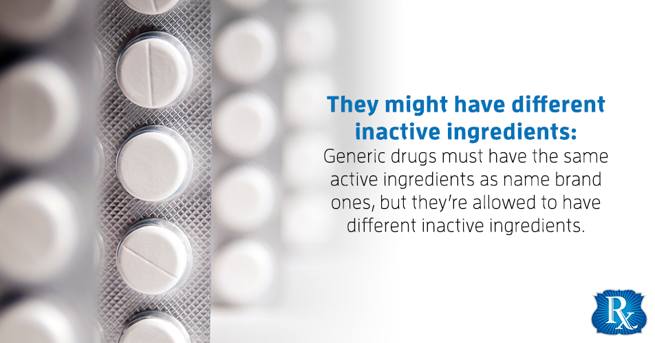 They might have different inactive ingredients: Generic drugs must have the same active ingredients as name brand ones, but they're allowed to have different inactive ingredients.