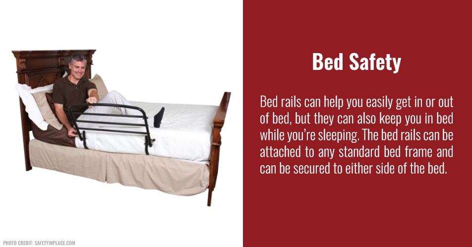 Bed rails can help you easily get in or out of bed, but they can also keep you in bed while you're sleeping. The bed rails can be attached to any standard bed frame and can be secured to either side of the bed.
