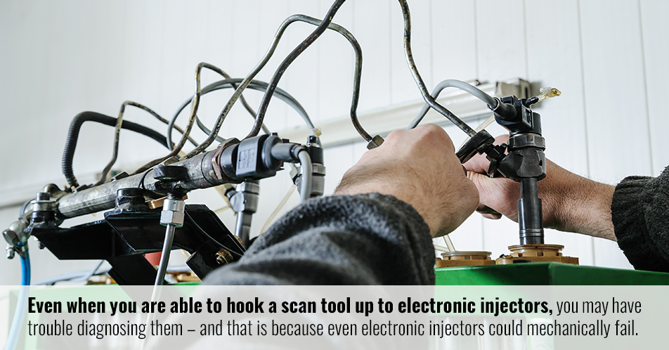 Even when you are able to hook a scan tool up to electronic injectors, you may have trouble diagnosing them – and that is because even electronic injectors could mechanically fail.