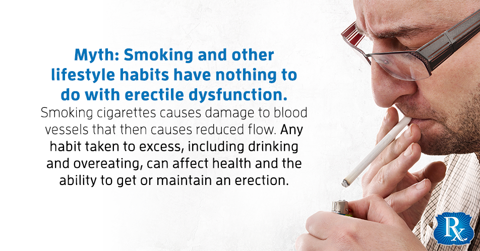 Myth: Smoking and other lifestyle habits have nothing to do with erectile dysfunction. Smoking cigarettes causes damage to blood vessels that then causes reduced flow. Any habit taken to excess, including drinking and overeating, can affect health and the ability to get or maintain an erection.