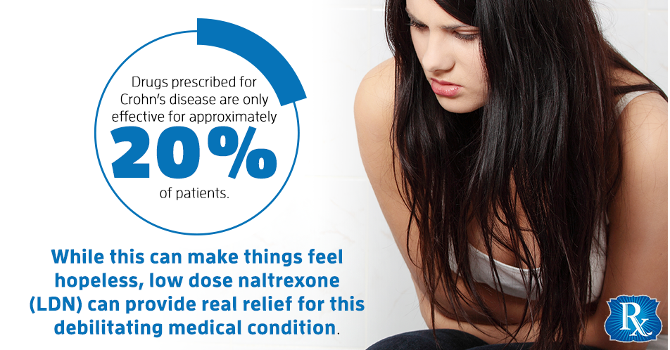 In fact, drugs prescribed for Crohn's disease are only effective for approximately 20 percent of patients. While this can make things feel hopeless, low dose naltrexone (LDN) can provide real relief for this debilitating medical condition.