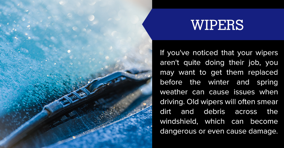 If you've noticed that your wipers aren't quite doing their job, you may want to get them replaced before the winter and spring weather can cause issues when driving. Old wipers will often smear dirt and debris across the windshield, which can become dangerous or even cause damage.