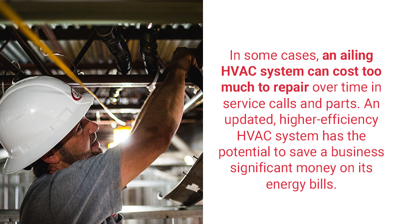 In some cases, an ailing HVAC system can cost too much to repair over time in service calls and parts. An updated, higher-efficiency HVAC system has the potential to save a business significant money on its energy bills.