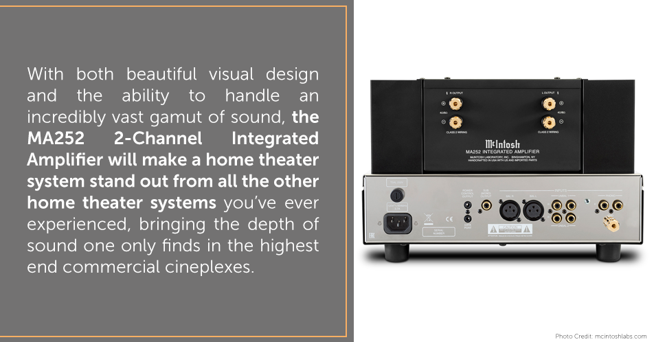 With both beautiful visual design and the ability to handle an incredibly vast gamut of sound, the MA252 2-Channel Integrated Amplifier will make a home theater system stand out from all the other home theater systems you've ever experienced, bringing the depth of sound one only finds in the highest end commercial cineplexes.